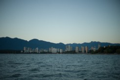 View of English Bay from Kitsilano Beach at sunset