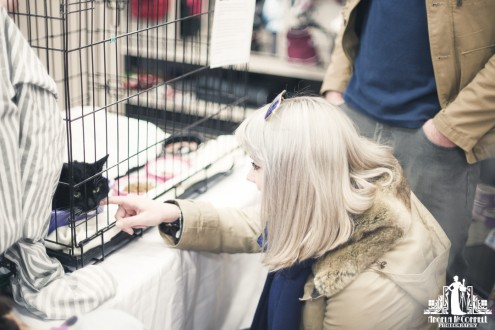 Young woman petting a black cat in a cage waiting for adoption
