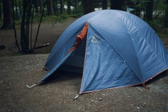 Image of a blue tent in a campground