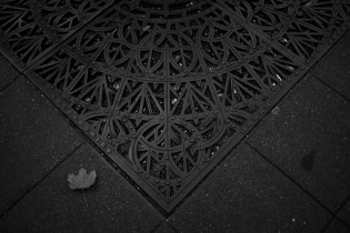 Black and white abstract image of a decorative grate in the footpath in downtown Seattle