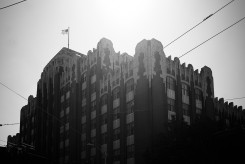 Black and white image of architecture in downtown Seattle