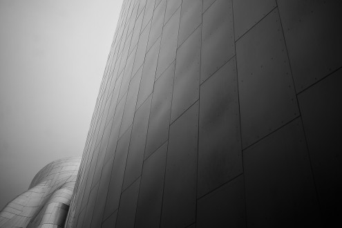Abstract image of the exterior architecture of EMP in Seattle