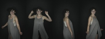 Montage of a series of natural light portraits where a young woman is dancing