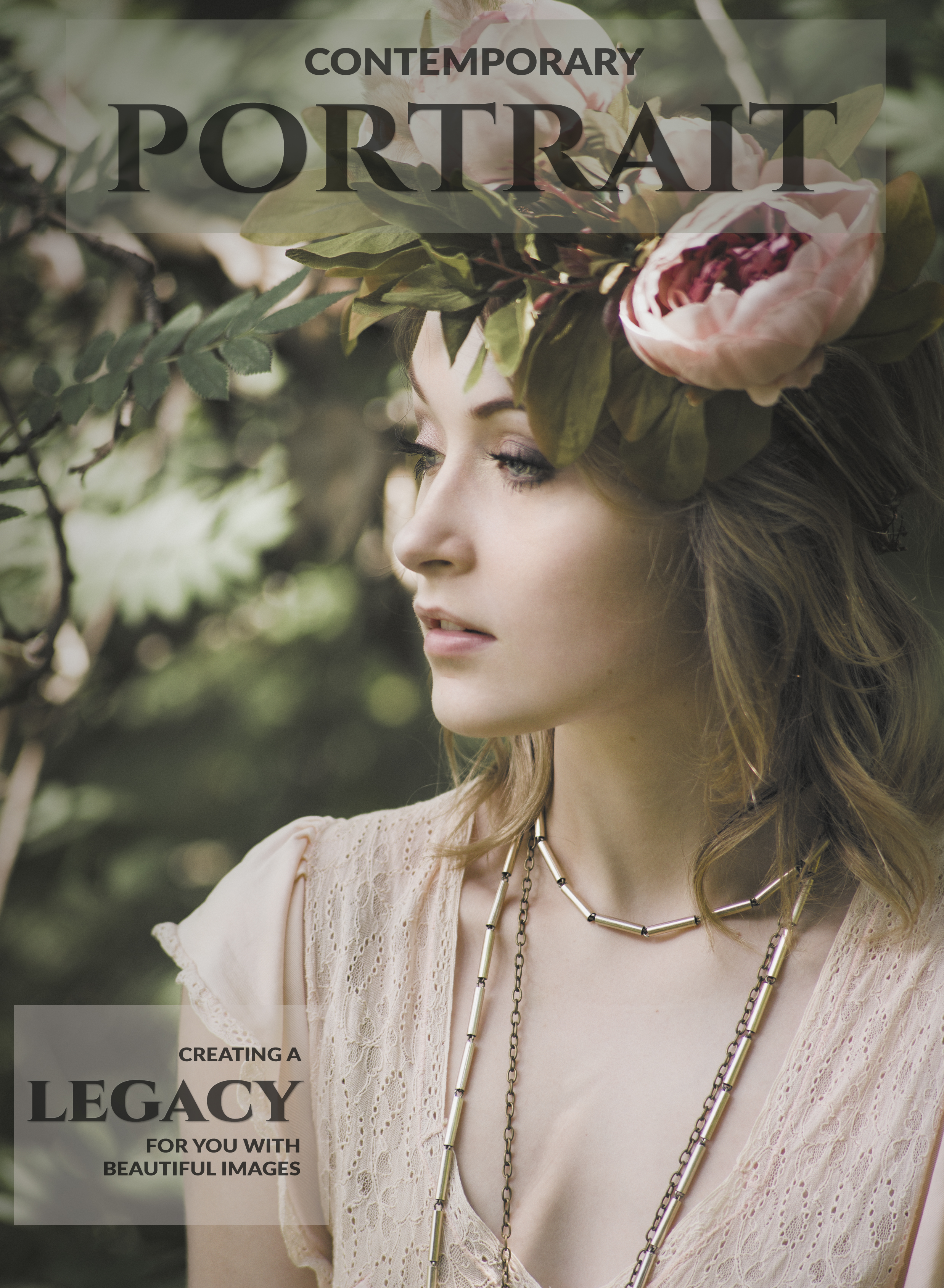 Magazine cover of a young woman in the forest in a lace peach dress wearing a flower crown
