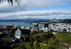 View of Wellington harbour in New Zealand from the top of the Cable Car looking across to mountain ranges