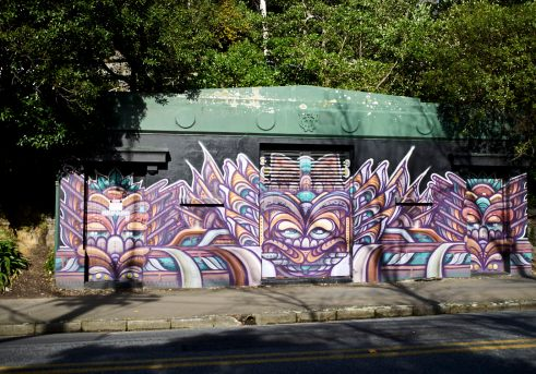 Mural painted on the side of a Wellington City Council building in the suburb of Kelburn