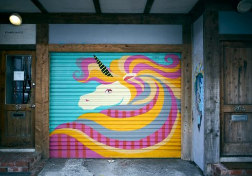 Street art mural of a brightly coloured unicorn on a garage door in the laneway of Egmont Street in Wellington