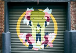Street art mural of a brightly coloured flowers on a garage door in the laneway of Egmont Street in Wellington