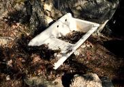 Image of a discarded kitchen sink filled with dead leaves sitting on the edge of a cliff face
