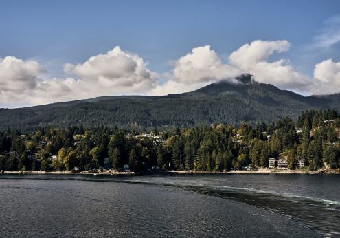 Image of houses along the shoreline departing Langdale on the Sunshine Coast, BC
