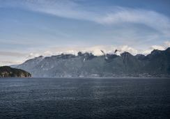 View of the Sea to Sky Highway from the ferry from Langdale to Horseshoe Bay, BC